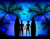 Silhouette of man and woman Royalty Free Stock Images