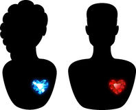 Silhouette of a Man and a Woman Stock Photography
