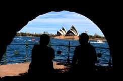 Silhouette of man and woman enjoying Sydney Harbou Royalty Free Stock Photo