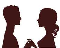 Silhouette of man and woman in profile stock illustration