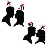 Silhouette of man and woman. Psychology of relations. Royalty Free Stock Images
