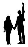 Silhouette of man and woman Royalty Free Stock Photography
