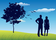 Silhouette of man and woman standing on summer field near tree,. Blue sky Royalty Free Stock Photo