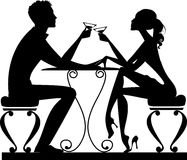 Silhouette of a man and a woman at a table with a glass in hand royalty free illustration