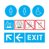 Silhouette man and women public places access. The rules of behavior on the escalator Royalty Free Stock Image