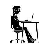 Silhouette man working front computer with pc Stock Image