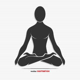 Silhouette of a man in the yoga pose Stock Photography
