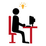 Silhouette with manager in office and idea light bulb icon Stock Image