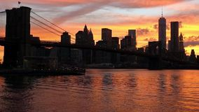 Silhouette of Manhattan During Sunset stock footage