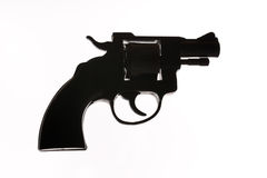 Silhouette of a mans hand with a handgun. Handgun isolated on the white background Stock Image