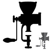 Silhouette manual mechanical grinder vector execution.  Royalty Free Stock Photo