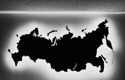 Silhouette map of the Russia on the wall