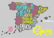Silhouette of the map of Spain with hand-written names of region. S, provinces - Catalonia, Andalusia, Galicia, etc. Handwritten lettering on the background of Royalty Free Stock Image