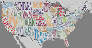 Silhouette of the map of USA with hand-written names of states - Texas, California, Iowa, Hawaii, New York, etc. Royalty Free Stock Images