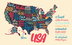 Silhouette of the map of USA with hand-written names of states - Royalty Free Stock Image