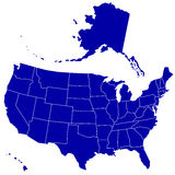 Silhouette map of USA Royalty Free Stock Photos