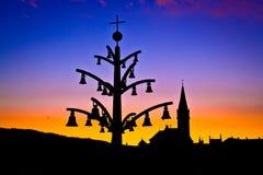 Silhouette mariale d'architecture de tombeau de Marija Bistrica image stock