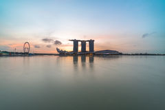 Silhouette Marina Bay during sunrise. Beautiful sunrise scene at Marina Bay Singapore Stock Images