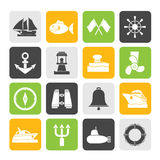 Silhouette Marine, sea and nautical icons Royalty Free Stock Photo