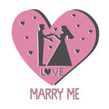 Silhouette marry me vector Stock Photo