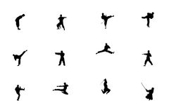 Silhouette of martial arts. Silhouette of sportsman. Martial arts.The men with some very cool poses Royalty Free Stock Photos