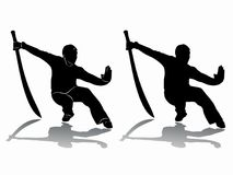 Silhouette of martial athletes, vector draw. Silhouette of martial athletes with sword, black and white drawing, white background Stock Photo