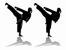 Silhouette of martial athletes. vector drawing. Illustration of a martial athletes . black and white drawing, white background Royalty Free Stock Photos