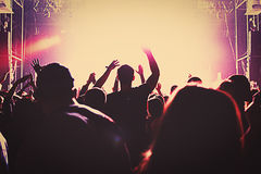 Silhouette massive crowd party concert club music. Silhouettes of a massive crowd at the party concert club music happy Stock Photography