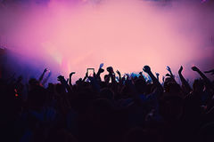 Silhouette massive crowd party concert club music Royalty Free Stock Photo