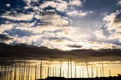 Silhouette Masts of Sail Yacht Royalty Free Stock Images