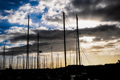 Silhouette Masts of Sail Yacht Royalty Free Stock Image