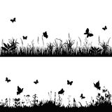 Silhouette meadows. Silhouettes grass and twigs of plants with butterflies. vector illustration Stock Images