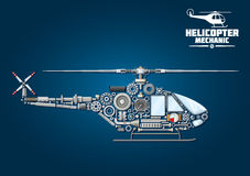 Silhouette of mechanical detailed helicopter Stock Images