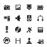 Silhouette Media and household  equipment icons Stock Photo