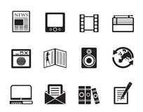 Silhouette Media and information icons Stock Photography