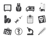 Silhouette Medical and healthcare Icons Stock Images