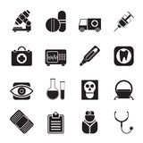 Silhouette medical, hospital and health care icons Stock Photography