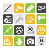 Silhouette Medicine and hospital equipment icons Stock Image