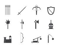 Silhouette medieval arms and objects icons Stock Photos