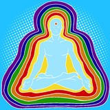 Silhouette of meditating human aura pop art vector Royalty Free Stock Image
