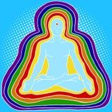 Silhouette of meditating human aura pop art vector. Silhouette of meditating human aura pop art style vector illustration. Aura of human. Esoterism Royalty Free Stock Image