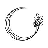 Silhouette medium circular border with branch and leaves Royalty Free Stock Images