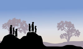 Silhouette of meerkat family Royalty Free Stock Photo