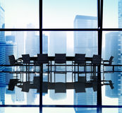 Silhouette of Meeting Table in the Office Stock Photography