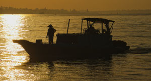 Silhouette Mekong river Stock Photography