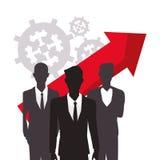 Silhouette men business growth arrow finance. Vector illustration eps 10 Stock Images