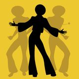 Silhouette of men dancing soul, funky or disco music. Retro Style Stock Images