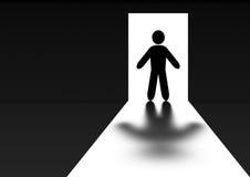 Silhouette men in doors Stock Image