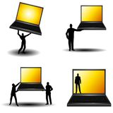 Silhouette Men Holding Laptops. An illustration featuring your choice of 4 scenes involving men holding laptops with golden screens Stock Image