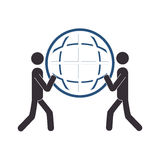 Silhouette men holding a sphere Royalty Free Stock Images